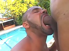 Sweet shemale enjoys oral near pool