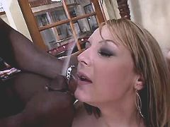 Blond tranny gets facial after orgy