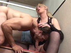 Blonde shemale sucked by horny man