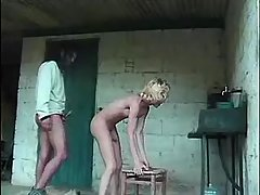 Guy catchs and spoils blonde tranny