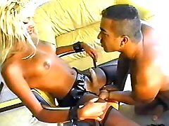 Guy sucks big cock of latina tranny
